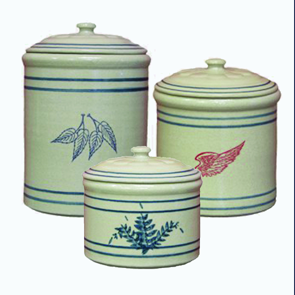3 piece crock canister set red wing stoneware amp pottery white kitchen canisters set of 3 made to order storage and