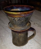pourover filter and mug