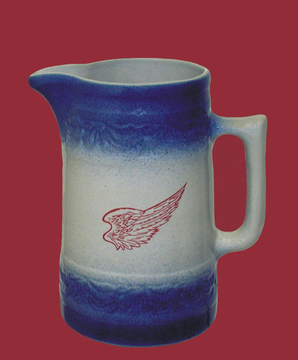 stoneware cherry pitcher blue band red wing stoneware